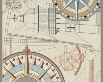 NAVIGO, Nautical, Compass Rose, Lighthouse, Contemporary, Light-colored, Area Rug, Accent Rug