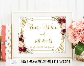 Floral Beer Wine and Soft Drinks Sign, Alcohol Beverage Station Wedding Table Printable Sign, Instant Download, 8x10 PDF Printable, #LC