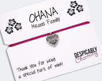 Ohana - Wish bracelet,  friendship bracelet, Ohana means family, Mother's day, mothers day gift, sister gift, BFF gift, heart bracelet