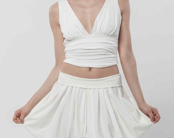 ARIA - white pants handmade in jersey organic certified