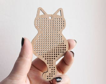 Cross stitch pendant blank Cat with tail - cat blank Wood Needlecraft Pendant, Necklace or Earrings - K2-90 mm