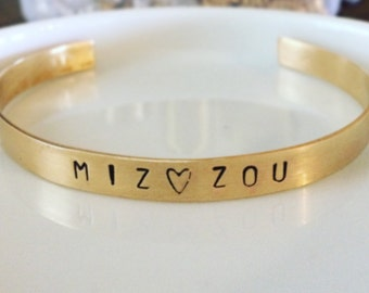 Mizzou - Hand Stamped Cuff Bracelet - Gold Brass Bangle - Customizable - Personalize - MU