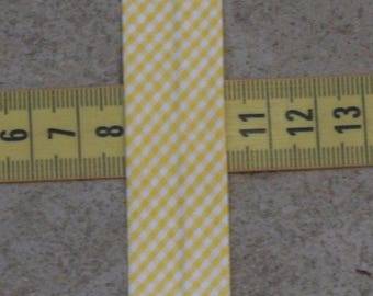 3 metre bias gingham yellow and white wide 20 mm folded, 100%
