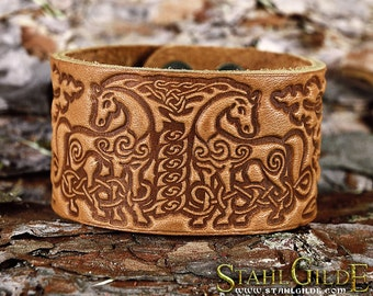 Leather  Bracelet Cuff Wristband Horses Celtic Knotwork Talisman Amulet  Carving Leather