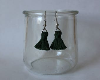 Dark Green and Silver Triangle Ring Tiny Tassel Dangle Earrings
