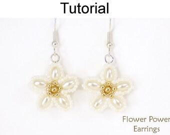 Wedding Bridal Beading Patterns - Jewelry Making Tutorials - Pearl Flowers - Simple Bead Patterns - Flower Power Earrings #24683