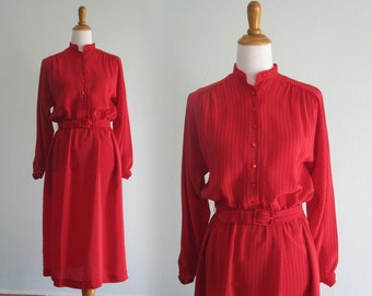 Nicole Miller Dress - Chic 80s Red Silk Dress by Nicole Miller - Vintage Pinstriped Silk Dress - Vintage 1980s Dress M
