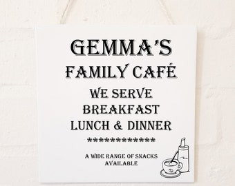 Personalised Home Kitchen Hanging Ceramic Plaque.