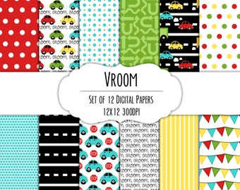 Vroom Car  Digital Scrapbook Paper 12x12 Pack - Set of 12 - Car, Road, Arrows, Flags - Instant Download - Item# 8194