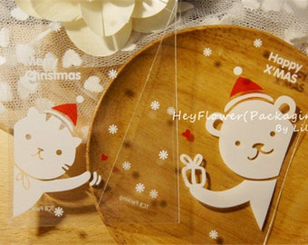 100pcs Christmas packaging bag, cookie ,candy bags, plastic bags ,baby shower favor bags ,cellophane package