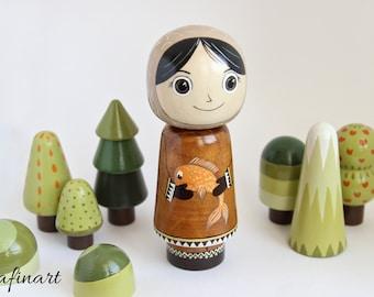 Wooden Doll, Chukchi, Girl with fish, Peg Doll, Handpainted, Kokeshi Doll