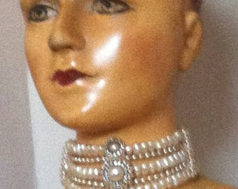 Vintage 80's hand made pearl and paste choker, soft leather backing