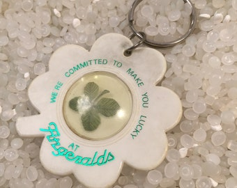 four leaf clover, encased in a old keychain, good luck charm, souvenir,Fitzgeralds Reno
