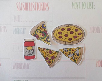 Pizza Slices Stickers, pizza decor stickers, Italian stickers, pepperoni stickers, food stickers, fast food stickers