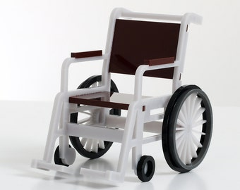 1:12 'Dolls House' Scale Wheelchair Model. Durable, Laser Cut, Acrylic.