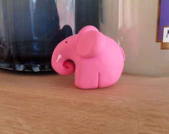 Elephant Cake Topper, Desk Pet, Ornament. Cute pink elephant figurine.