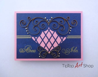 Homemade Quilled Wedding Card; Anniversary Card; Quilled Wedding Invitation