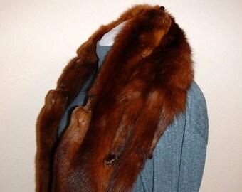 Vintage Mink Scarf Drape Wrap Five Complete Minks With Front Closure
