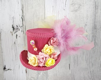 Pink and Yellow Paper Flower Medium Mini Top Hat Fascinator, Alice in Wonderland, Mad Hatter Tea Party, Derby Hat