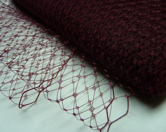 1 Yard 9 inches wide Birdcage Russian/French Veiling -- Wine (Burgundy)