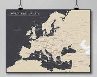 Europe Push Pin Map (Print Only) , Travel Map, Map Poster, Travel Board, Wedding - Anniversary Gift  #Europe-001