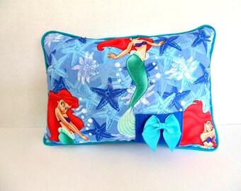 Ariel Pillow , Personalized Pillow , Girls Blue Tooth Fairy Pillow , Little Mermaid Pillow