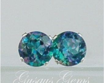 Mystic Topaz Blue Green 6mm 2ctw Sterling Silver Studs