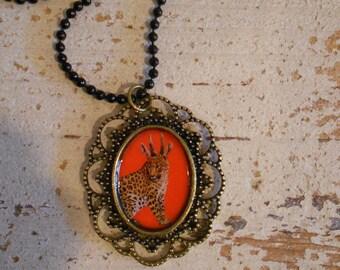 Leopard Pendant  ,Steampunk, Antiqued brass vintage style necklace,