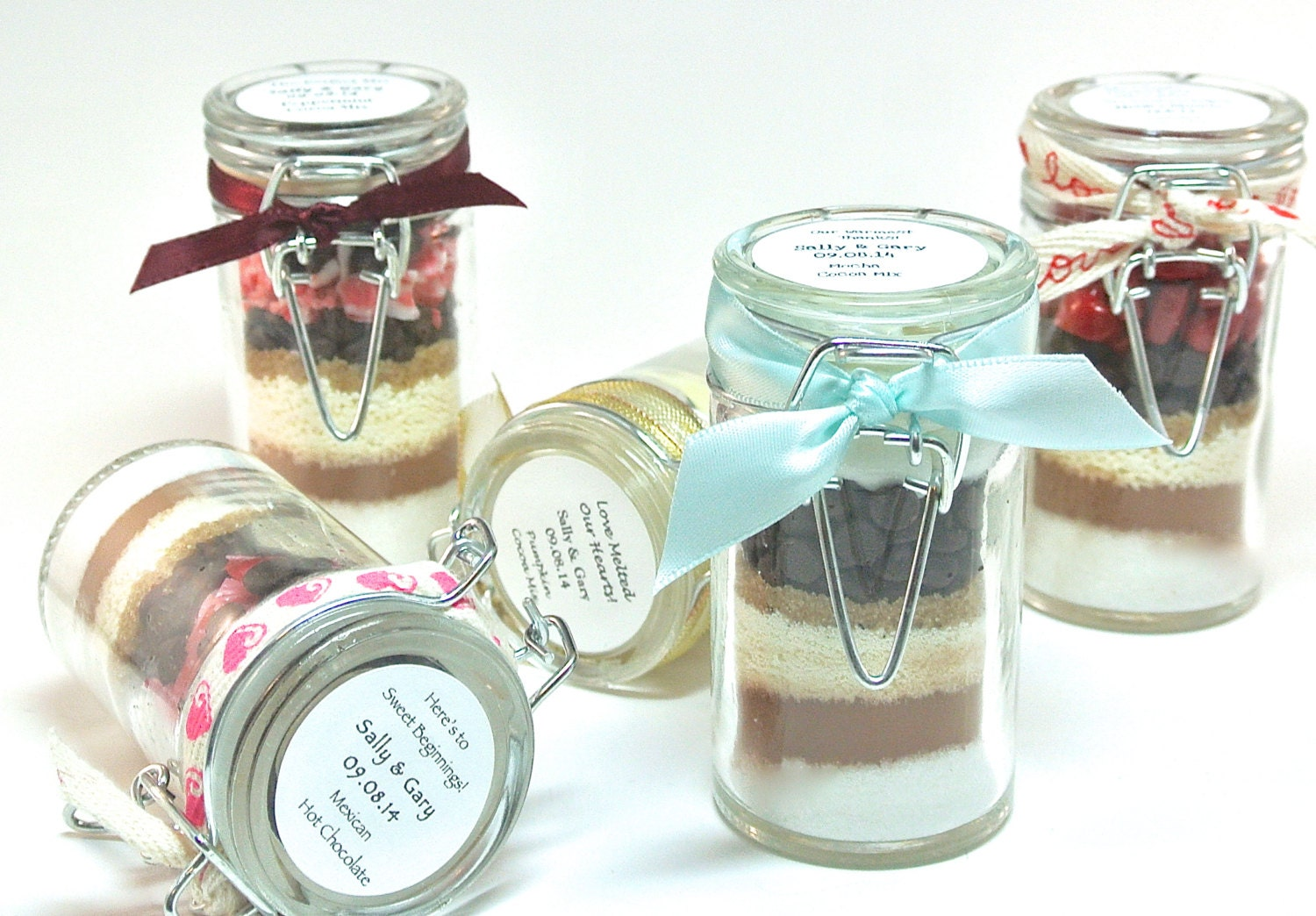 Hot Chocolate Favor 12 Mini Snap Top Jars Winter Wedding
