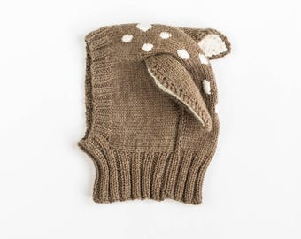 Kids Hat Knitting PATTERN - Baby, Kids, Adult Sizes - Baby Deer Balaclava Coverall Hat with Neck Warmer - PDF