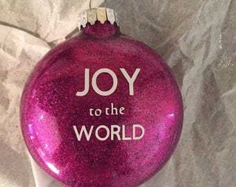 Glitter Joy to the World Ornament