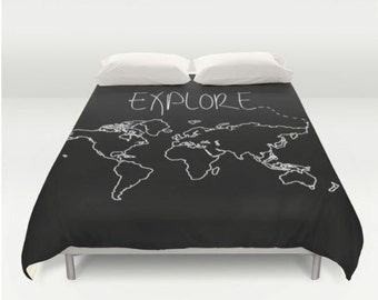 World map bedding etsy explore world map comforter or duvet cover twin twin xl full queen gumiabroncs Images