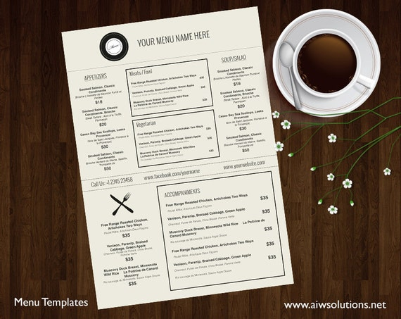 Menu Templates Printable Restaurant Menu Template Wedding