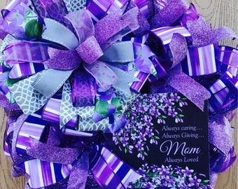 Mother's Day Wreath, Purple Wreath, Lilac Wreath, Mother's Day Mesh Wreath, Spring Wreath, Summer Wreath, Mother's Day gift