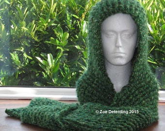 Instant Download Pattern - Chunky Ribbed Scoodie, no sewing, perfect for slow transition yarn