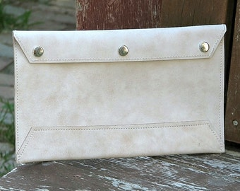 Leather Envelope Document Holder - Mottled Beige