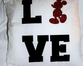 Mickey Love Throw Pillow