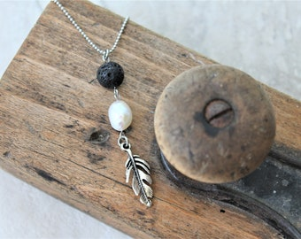 ABUNDANCE NECKLACE, diffuser necklace with lava stone and real fresh water pearl, pearl necklace, lariat necklace, aromatherapy jewelry