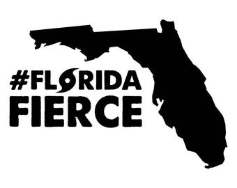 Florida Fierce Vinyl Decal Window Sticker Hurricane Irma Disaster Relief