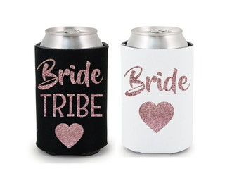 Bride Tribe Drink Coolers Bachelorette Party Favors, Rose Gold Glitter Drink Cooler Favors, Bachelorette Survival Kit, Bottle Can Holders