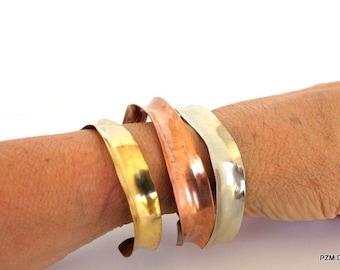 Three anticlastic bracelets, set of three metal arm bands, artisan tribal bangle bracelets, modern metal jewelry