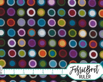 LA DI DOT Fabric by the Yard, Fat Quarter Alexander Henry Jewel Tones Black Fabric 100% Cotton Fabric Quilting Fabric Apparel Fabric t2-25