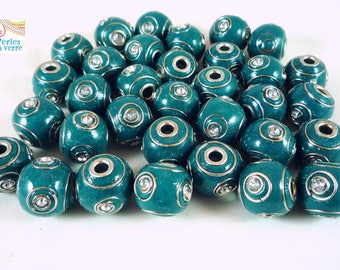 2 beads Teal Indonesian, resin and Rhinestones, 16mm, (pi18)
