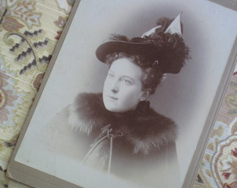 Antique Cabinet Card Photo - Young Woman WIth Light Eyes and a Fabulous Hat - 1890s Victorian