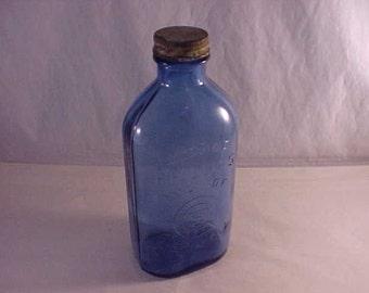Blue Embossed Glass Bottle Phillips Milk of Magnesia