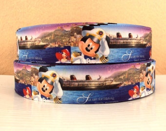 """5 YDS Cruise Mickey Mouse """"Sail for Lifelong Family Memories"""" Ribbon"""