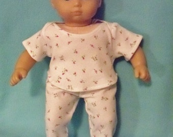 15 inch Doll Two Piece Pajamas with Feet