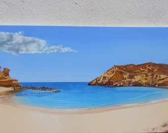 Beach, contemporary realism, sea scape, oil painting, beach scene, sand, sea scene