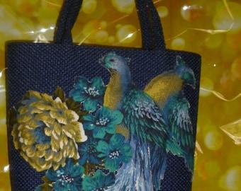 JR Florida USA Tweed blue Vintage Handbag Purse