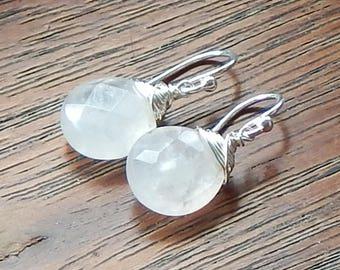 Rose Quartz Earrings,Sterling Silver Earrings,Wire Wrapped,Gemstone Jewelry,Briolette Earrings,Pink Earrings,Quartz Earrings